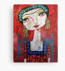 Frida and her blue chair Metal Print
