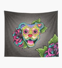 Smiling Pit Bull in Fawn - Day of the Dead Happy Pitbull - Sugar Skull Dog Wall Tapestry