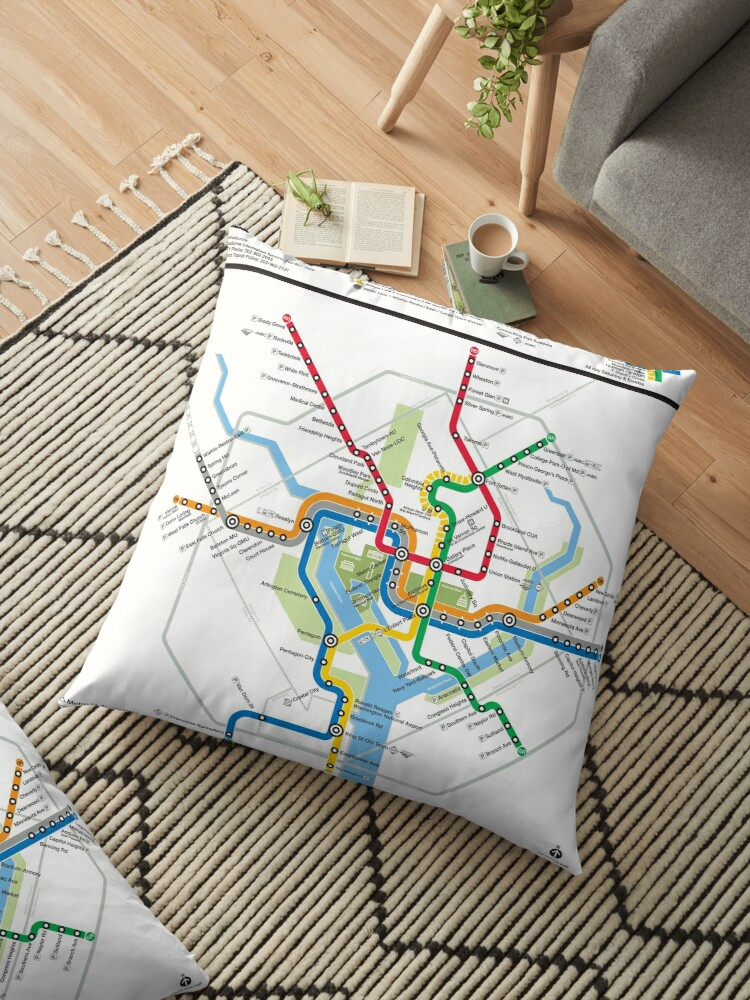 Dc Subway Map Pillow.United States Of America Washington Dc Metro Rail Map Hd Floor Pillow By Superfunky