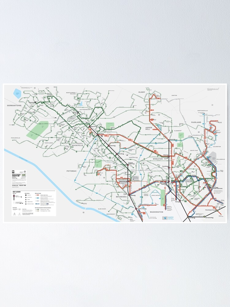 United States of America - Washington DC - Metrobus County System Map - HD    Poster