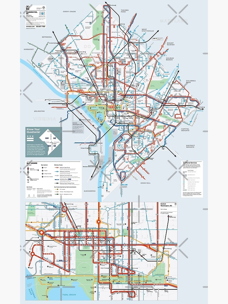 United States of America - Washington DC - Metrobus System Map - HD | Poster