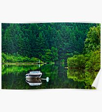Reflected boat, River Barrow, St Mullins, County Carlow, Ireland Poster