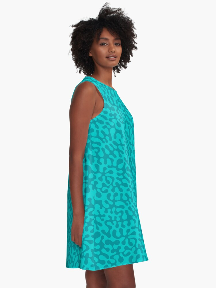 Alternate view of Abstract retro summer teal groovy pattern A-Line Dress