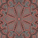 Peach, Grey and Chocolate Brown Lace, Arabesque Pattern by clipsocallipso