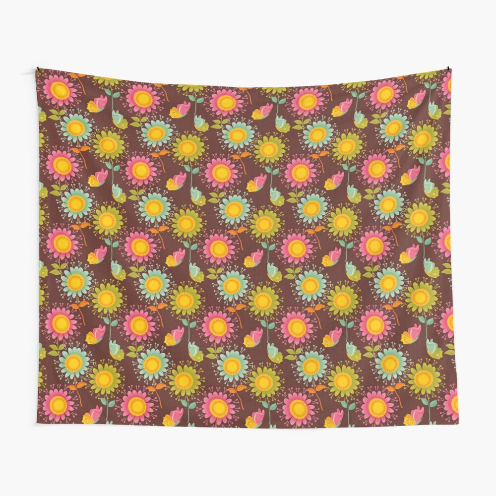 Colorful daisies with butterflies Wall Tapestry