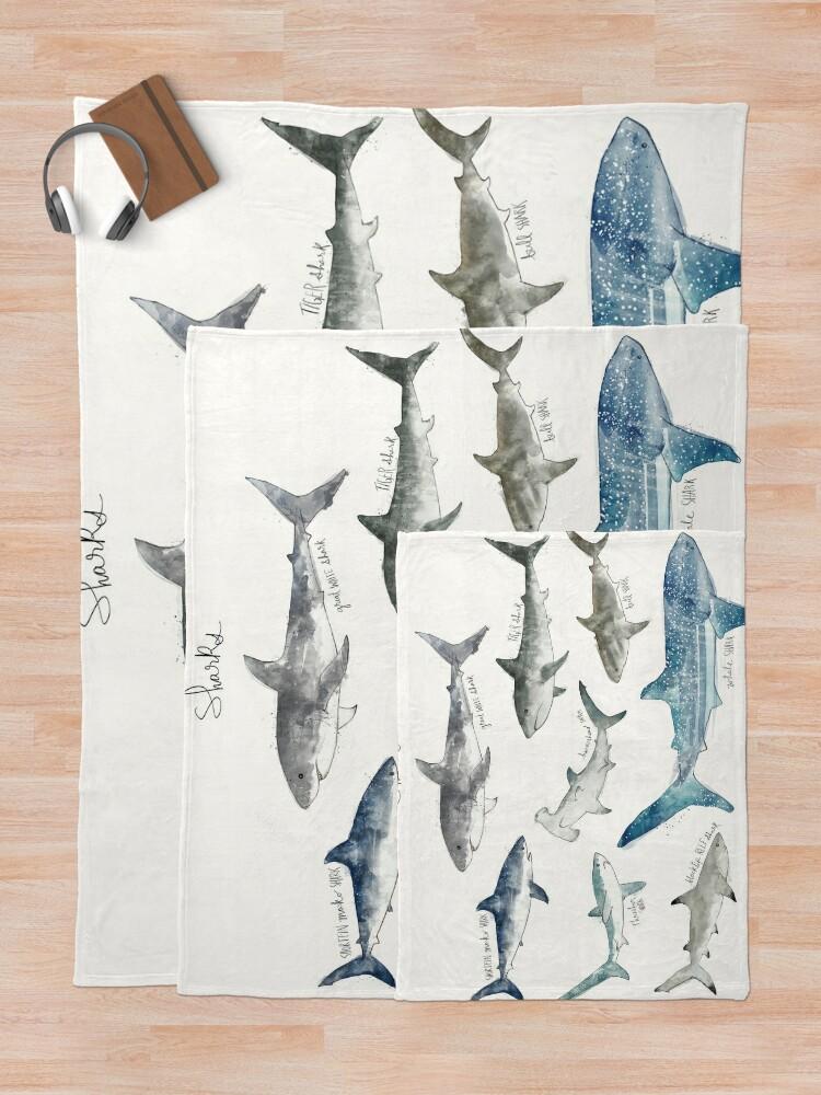 Alternate view of Sharks - Landscape Format Throw Blanket