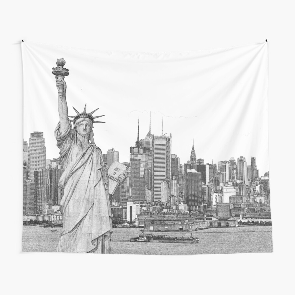 Statue Of Liberty New York City New York Skyline Wall Tapestry
