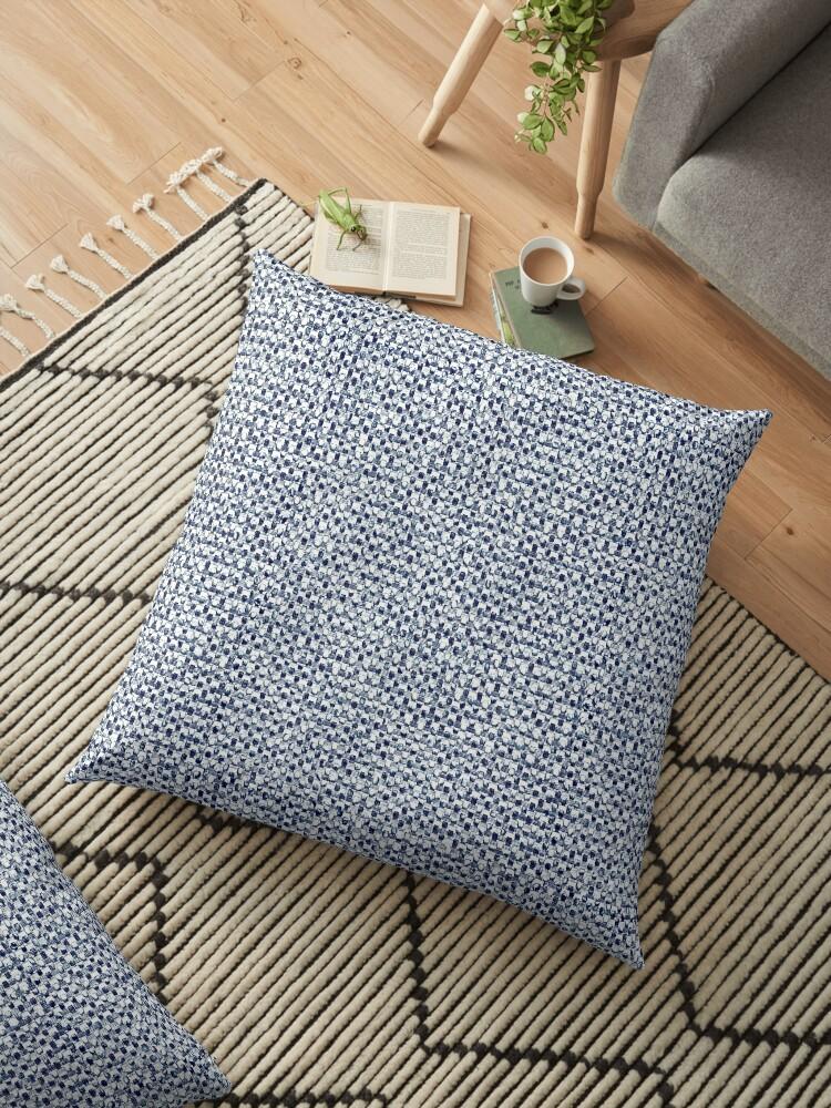 'Itajime Shibori Geometric Check Indigo Blue Textile Print' Floor Pillow by  Saburkitty
