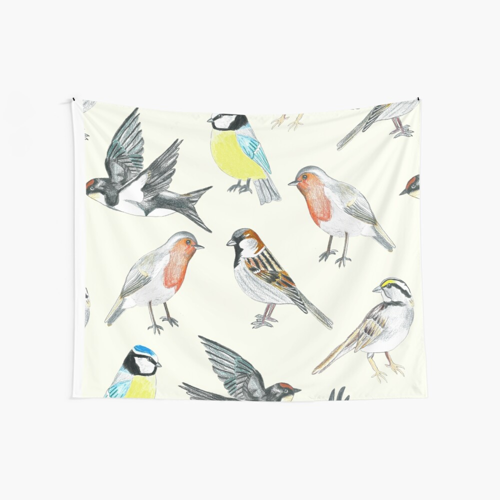 Illustrated Birds Wall Tapestry