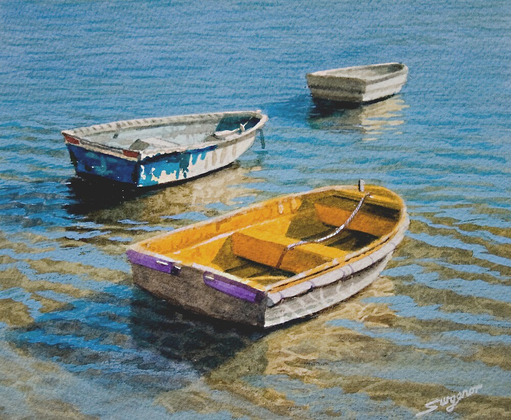 Three working boats by Freda Surgenor
