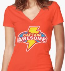 Captain Awesome Women's Fitted V-Neck T-Shirt