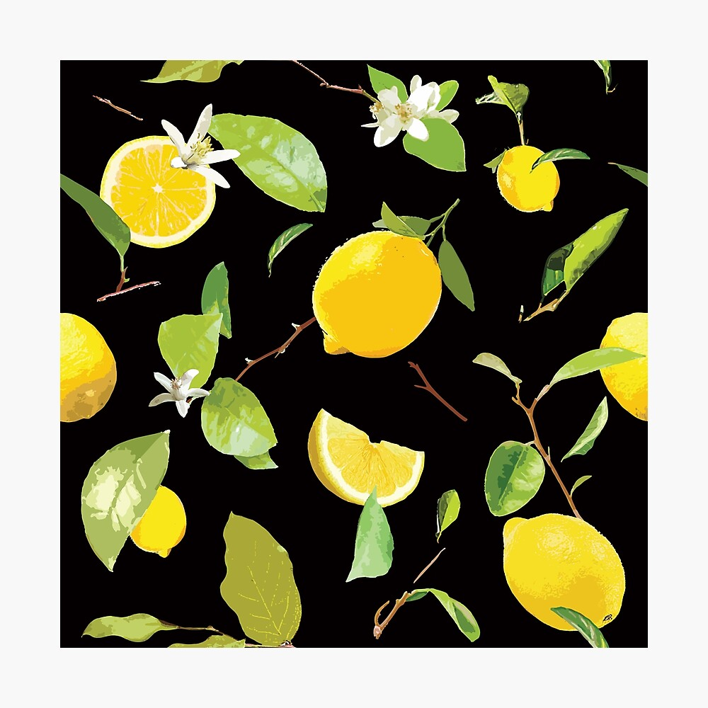 Watercolor Lemon & Leaves 4 Photographic Print