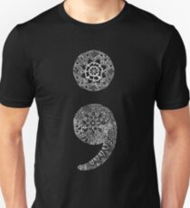 Patterned Semicolon: White on Black Unisex T-Shirt
