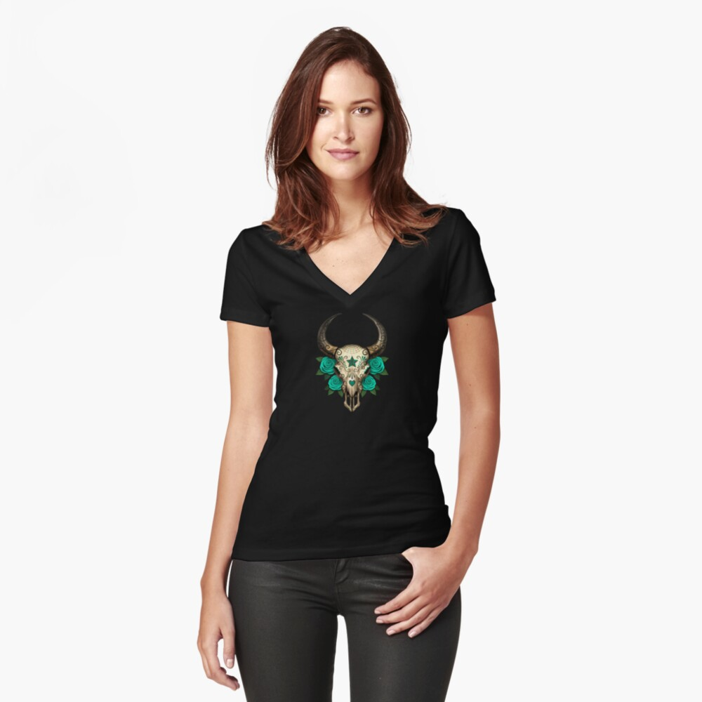 Bull Sugar Skull with Teal Blue Roses Women's Fitted V-Neck T-Shirt Front