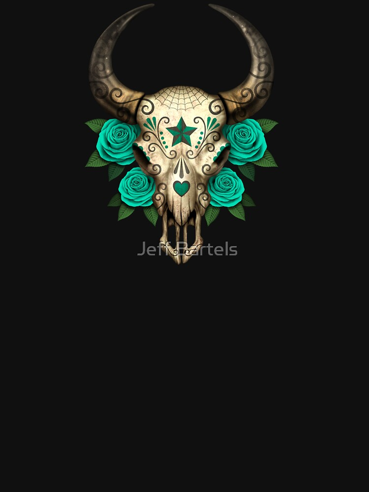 Bull Sugar Skull with Teal Blue Roses by JeffBartels