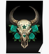 Bull Sugar Skull with Teal Blue Roses Poster