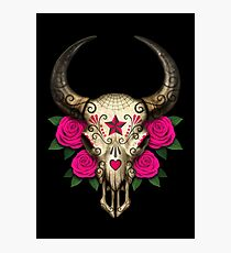 Bull Sugar Skull with Pink Roses Photographic Print