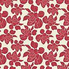 Cabbage flower   Repeat Vector Surface Pattern Design   hand drawn   red burgundy cream by DenesAnnaDesign