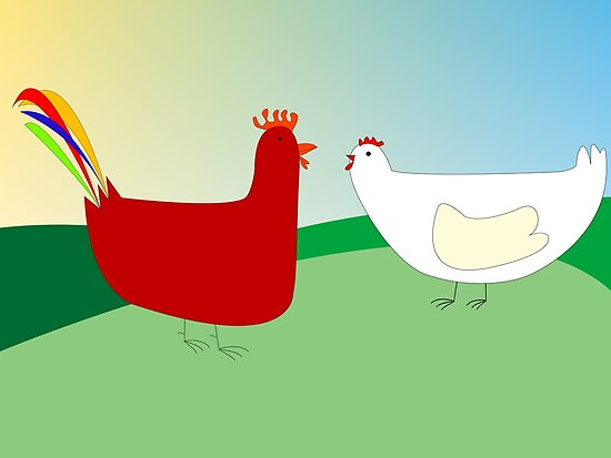 chicken and rooster by Laschon Robert Paul