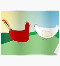 chicken and rooster Poster