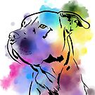 Pitbull Staffordshire in Watercolor by ragtagart
