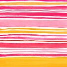 Pink and Yellow Sunny Day Stripes Cute Watercolor Pattern by blueskywhimsy