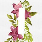 Letter I in watercolor flowers and leaves. Floral monogram. by helga-wigandt