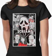 Scream character collage Women's Fitted T-Shirt