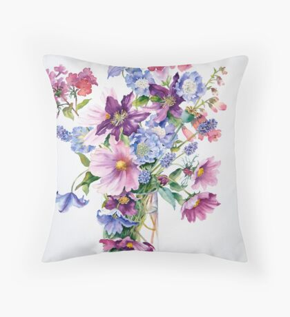 Clematis and Cosmos Throw Pillow