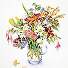 Daisies and Day lilies by Ann Mortimer