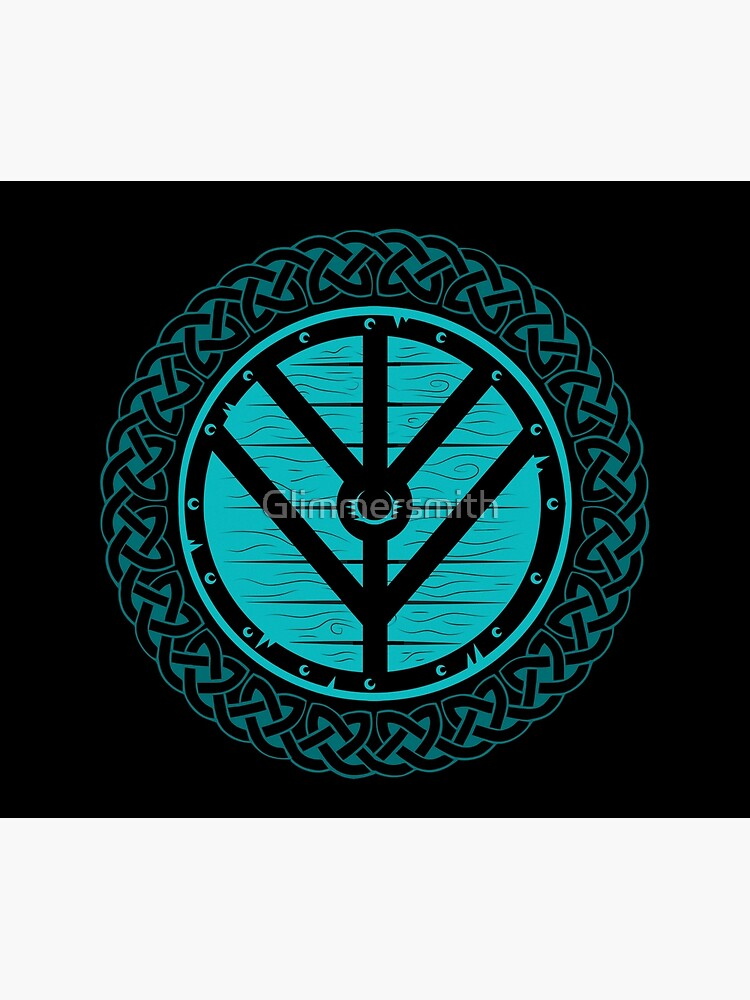 Viking Shield Maiden Norse Knot Work, Teal Shield by Glimmersmith