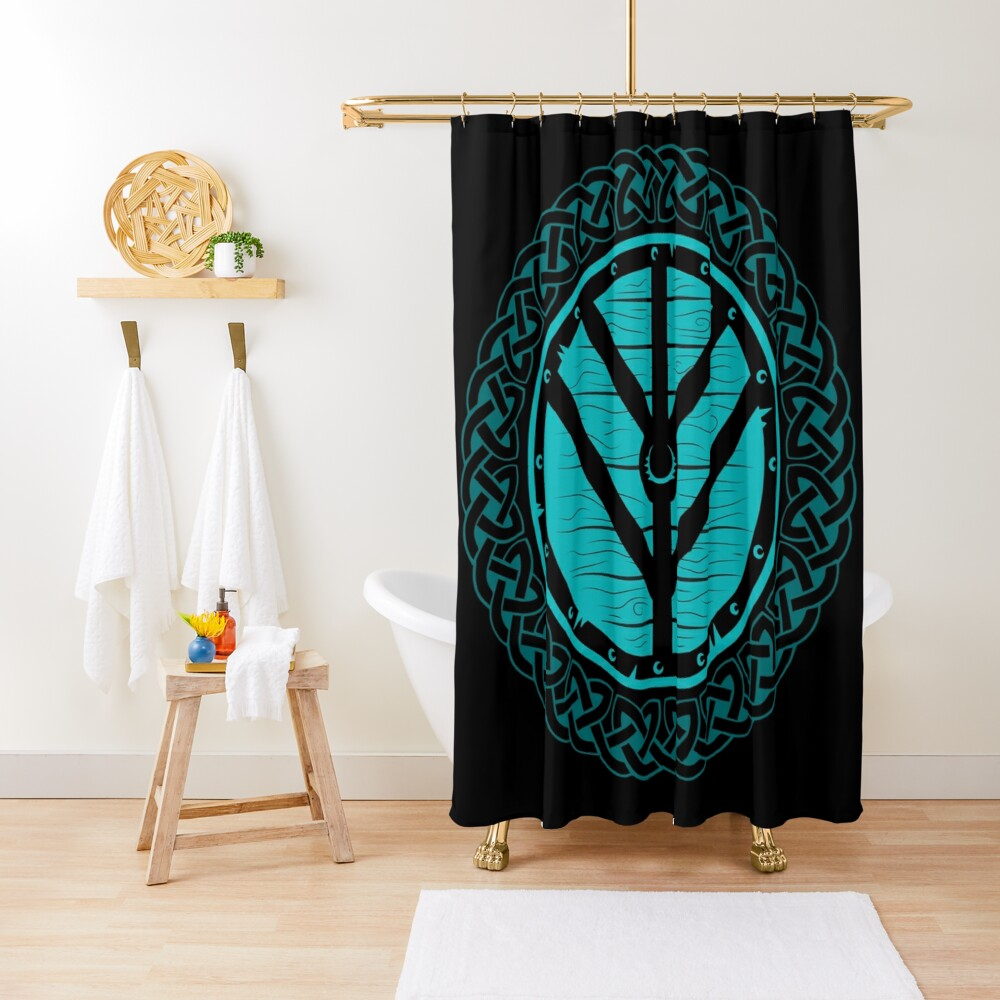Viking Shield Maiden Norse Knot Work, Teal Shield Shower Curtain