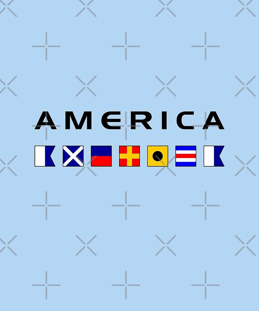 America Nautical Maritime Sailing Flags Light-Color by TinyStarAmerica