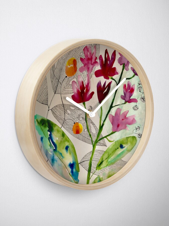 Alternate view of botanical composition Clock