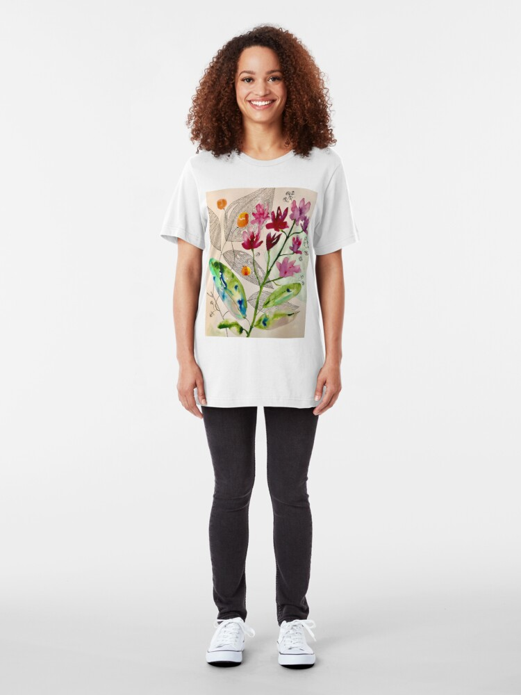 Alternate view of botanical composition Slim Fit T-Shirt