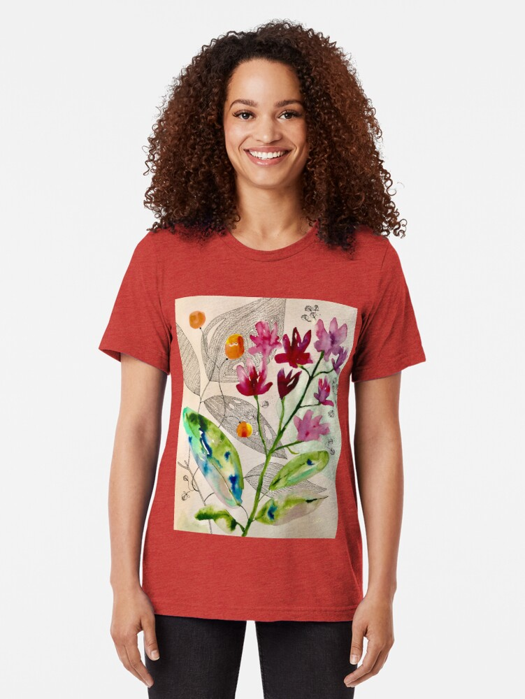 Alternate view of botanical composition Tri-blend T-Shirt