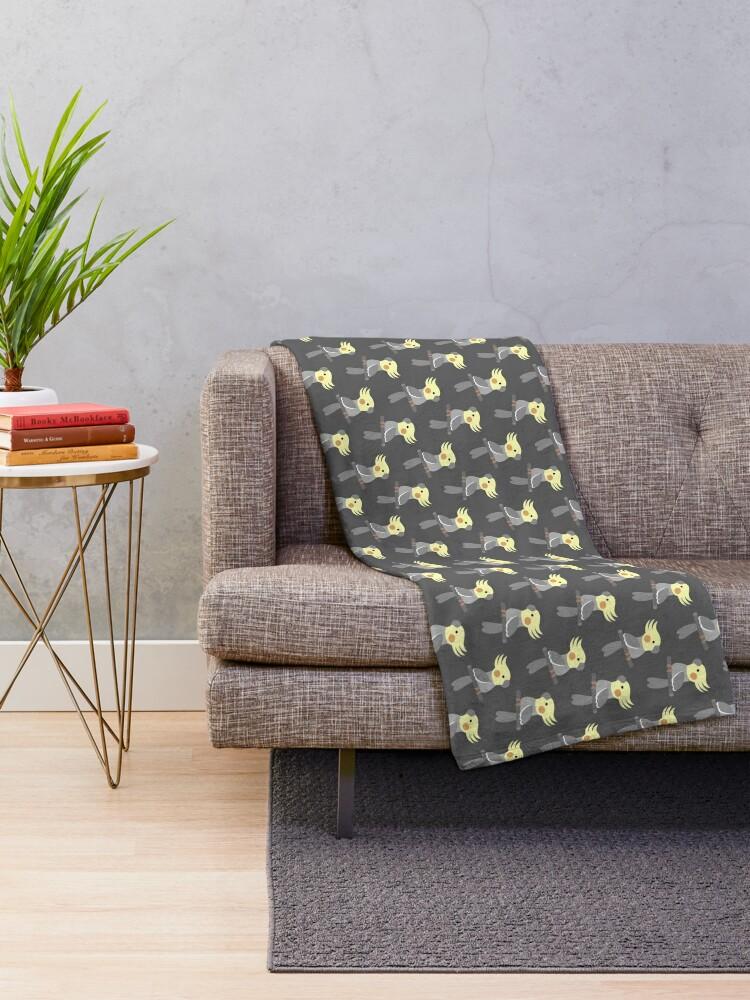Alternate view of Cute cockatiel Throw Blanket