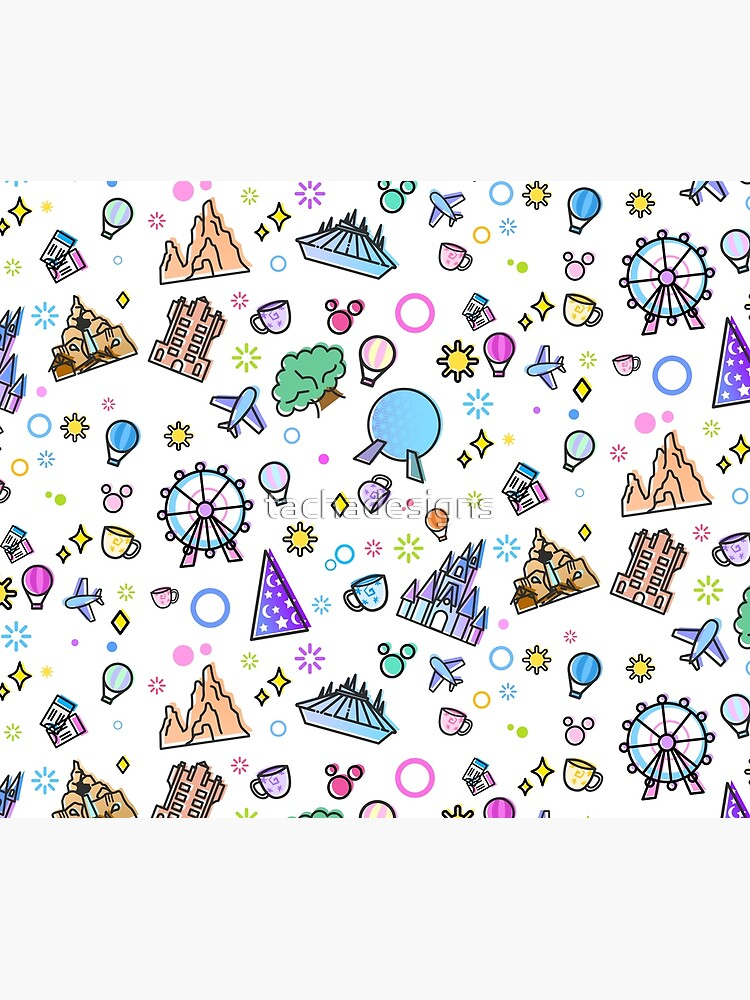 Meet me at my Happy Place Pattern. Happiest Place on Earth. Florida Orlando Icons. Ferris Wheel Theme Park. by tachadesigns
