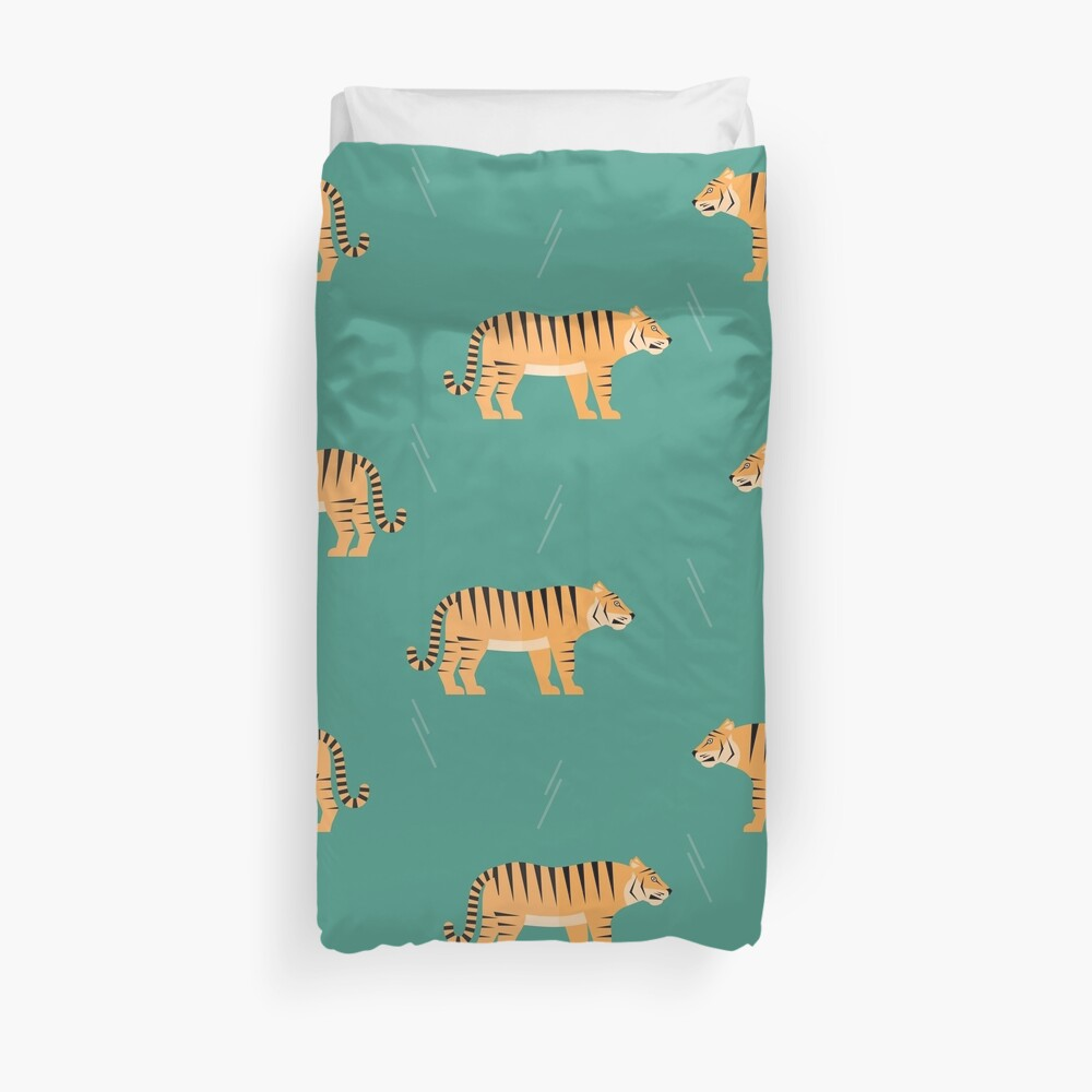 Tigers on blue Duvet Cover