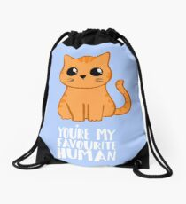 You're my favourite human - Ginger Cat - Gifts from the cat Drawstring Bag