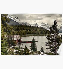 Maligne Lake Boat Shed Poster