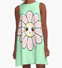 Kawaii Daisy | Pink Blossom Flower A-Line Dress
