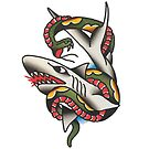 Traditional Shark and Snake in Battle Tattoo Design by FOREVER TRUE TATTOO