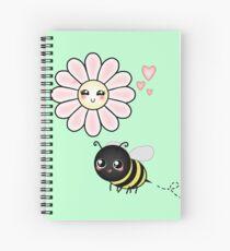 Kawaii Bumble Bee & Kawaii Daisy | Pink Blossom Flower Spiral Notebook