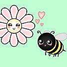 Kawaii Bumble Bee & Kawaii Daisy | Pink Blossom Flower by LolitasAdorned