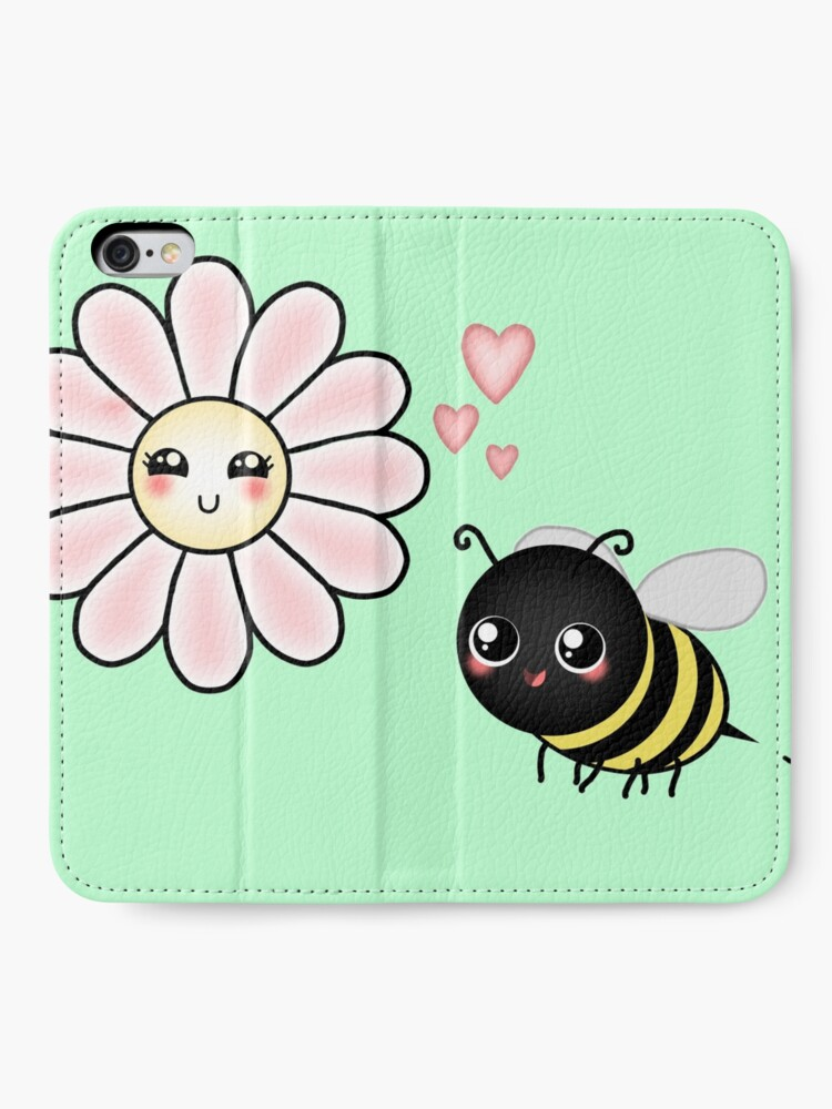 Alternate view of Kawaii Bumble Bee & Kawaii Daisy | Pink Blossom Flower iPhone Wallet