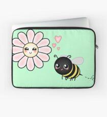 Kawaii Bumble Bee & Kawaii Daisy | Pink Blossom Flower Laptop Sleeve