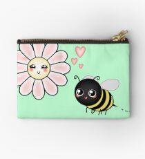 Kawaii Bumble Bee & Kawaii Daisy | Pink Blossom Flower Zipper Pouch