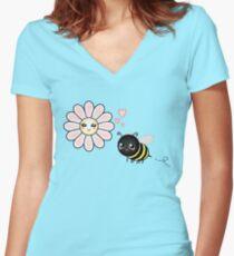 Kawaii Bumble Bee & Kawaii Daisy   Pink Blossom Flower Fitted V-Neck T-Shirt
