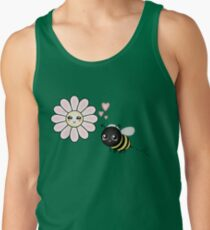 Kawaii Bumble Bee & Kawaii Daisy | Pink Blossom Flower Tank Top